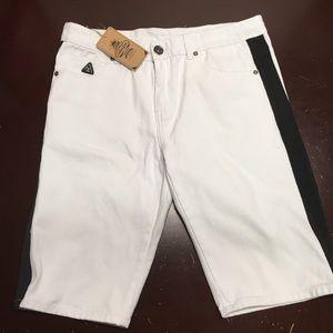 Denim collection white black striped Jean shorts